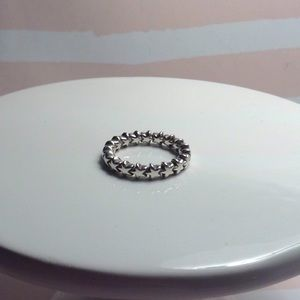 NewPandora silver stars silver stackable band ring
